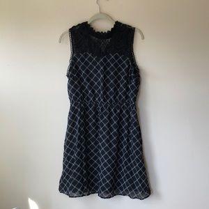 Mock neck black lace-collared dress
